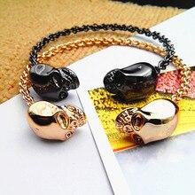 Ювелирные браслеты черный плетеный провод твист браслет Хэллоуин подарки панк ретро браслет качество браслет