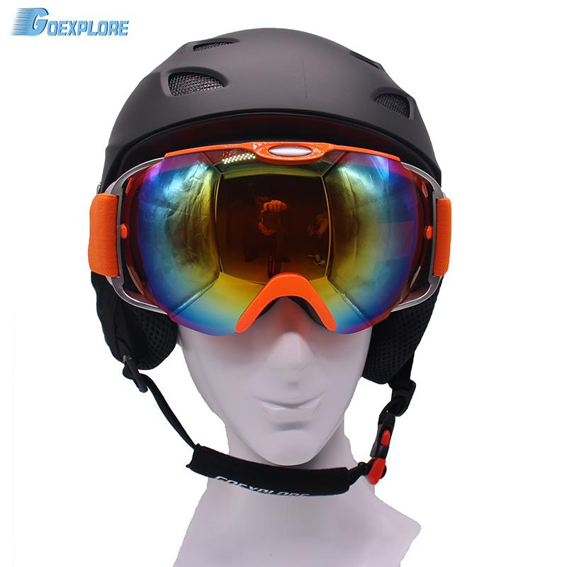 Skiing Helmet + skiing goggles double lens anti fog ski eyewear mens womens winter outdoor Extreme Sports snow snowboard Helmet black kayak boating water sports helmet abs out shell prefessional water skiing helmet
