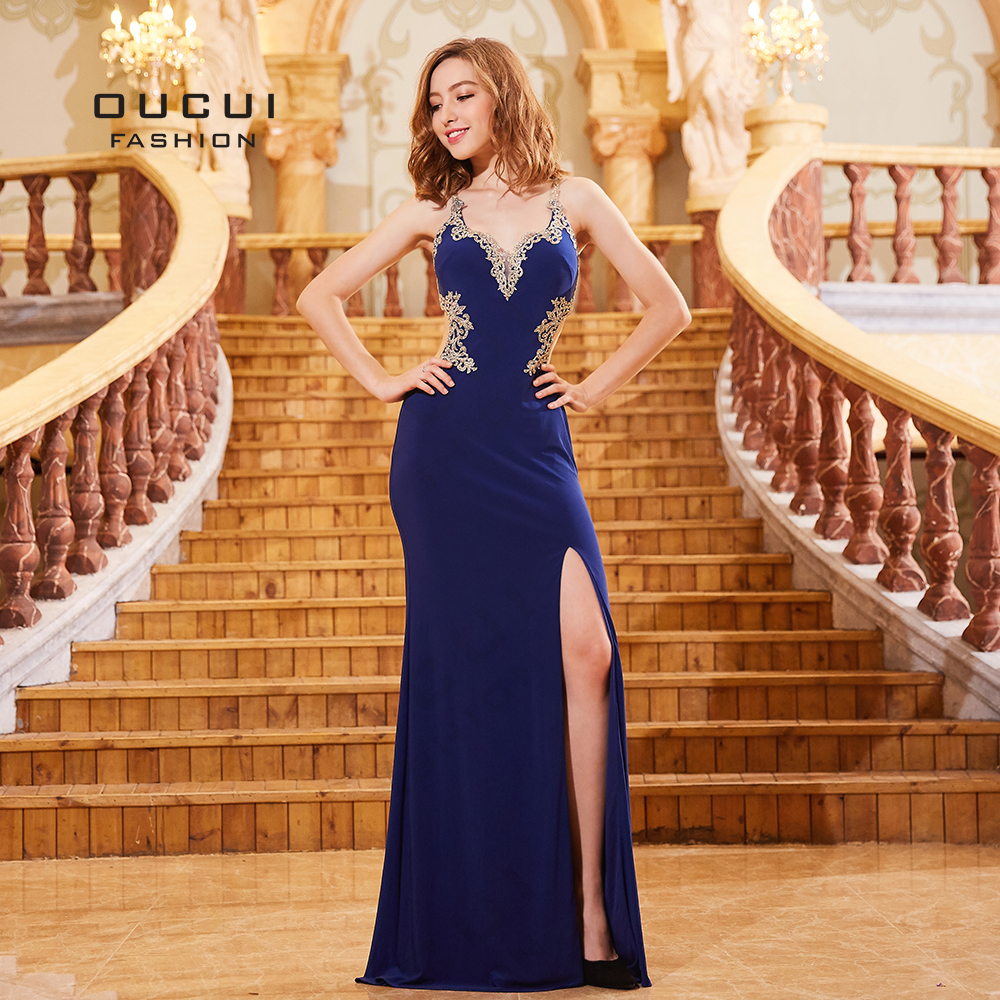 Royal Blue Appliques V-neck 2019 Mermaid Evening Dresses Long Robe Soiree Sexy Cut-Out Back Formal Dress Elegant Gown OL103282