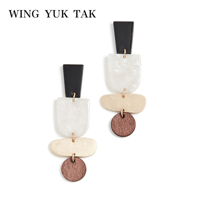 wing yuk tak Geometric Drop Earrings Jewelry Vintage Wood For Women New Fashion Accessories