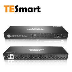 TESmart 4 K UHD 16 Porte HDMI Switch kvm Console Rack Mount Interruttore con 8 Pcs 5ft KVM Cavo USB 2.0 Dispositivo di 16 Porta di Ingresso di Controllo