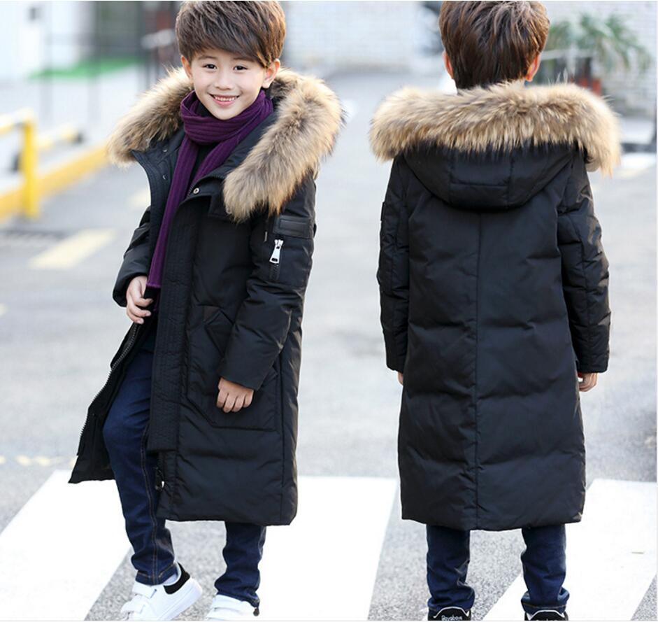 La MaxPa 2017 winter new children's down jacket boys in the long section of thick winter children's clothing jacket sky blue cloud removable hat in the long section of cotton clothing 2017 winter new woman