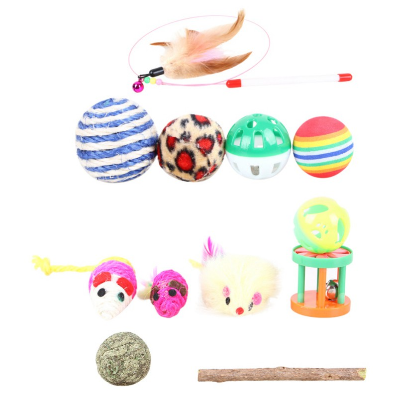 12pc Cat Toys Kit Pet Sisal Bell Feather Mice Shape Stick Toy Kitten Interactive Independent Play Supplies