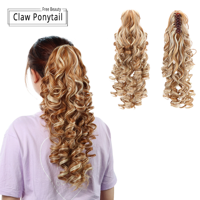 "18"" Curly Synthetic Ponytail Wig Hair Extensions Claw On Hairpiece Long Deep Wave Clip In Ponytail Hair Extension Heat Resistant"
