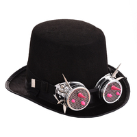 Men/Women Steampunk Hat Pink Glasses Gothic Vintage Top Hats With Rivet Goggles Victorian Cosplay Accessories