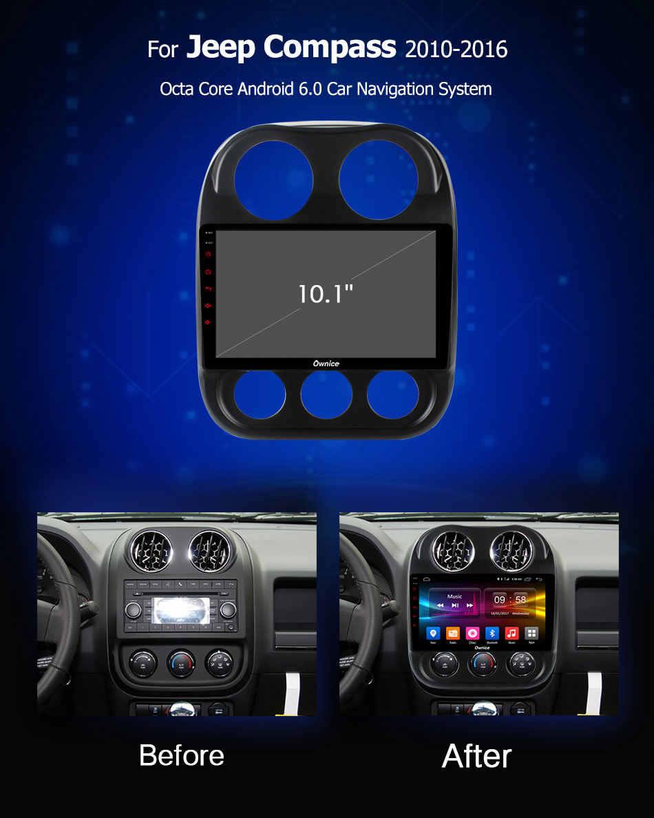 """Ownice C500 + G10 10.1 """"Octa Core Android 8.1 AUTO Auto Navi Radio GPS speler Voor Jeep Compass 2010 -2016 Ondersteuning DVD 4G DAB + DVR"""