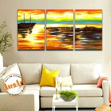 3pcs Oil painting Modern Abstract Handpainted Painting on Canvas Sailboat Sunset Paintings Unframed Wall Art Picture Home Decor