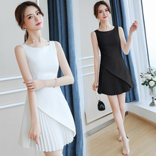 summer 2019 wear new pleated dress women o neck tank basic mini dresses sweet vestidos white black clothes size S-XL fashion