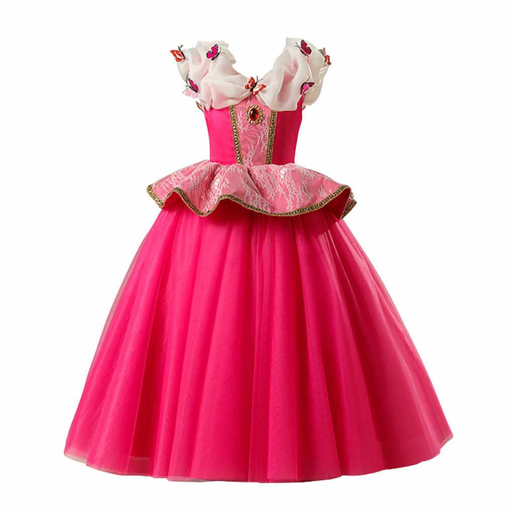 SAGACE От 3 до 7 лет платье принцессы для девочек вечерние платья с оборками и принтом бабочки для маленьких девочек; Jly23