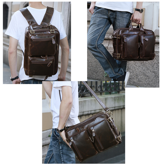 2019 New Natural Cowskin 100% Genuine Leather Men's multifunctional Briefcase Large Capacity Business Shoulder bag 17 Laptop Bag 5