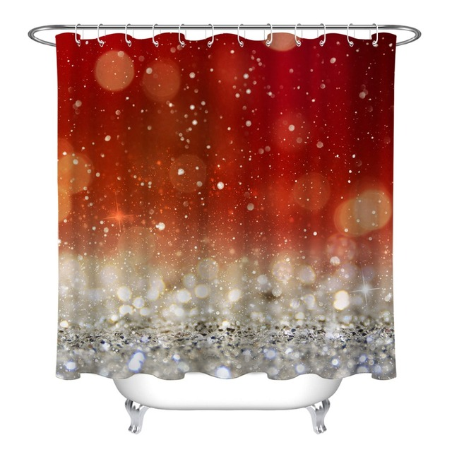 lb extra long christmas light blinking stars glitter shower curtains luxury waterproof custom bathroom fabric for