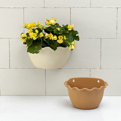 25 18cm Wall Hanging Flower Pots Half Round Wave Edge Style
