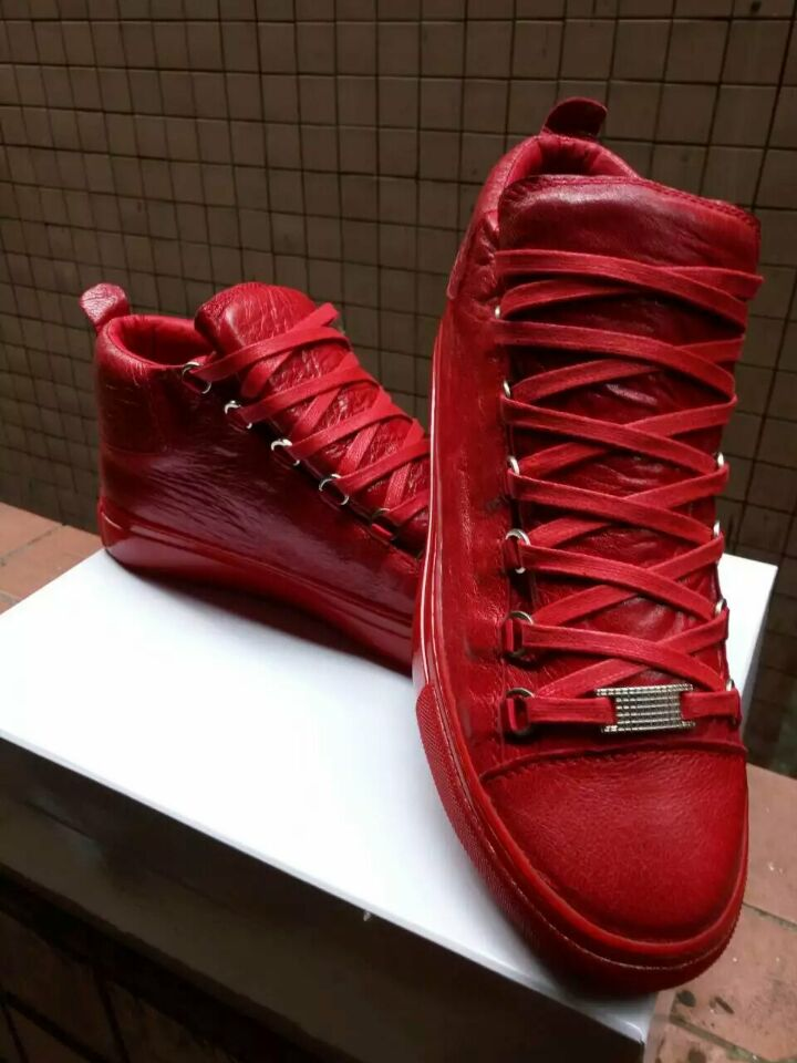 Fashion Men Sneakers Red Black Wrinkled Leather High Top Flats Shoes Lace Up Causal Party Shoes Luxury Men Women Trainers Shoes in Men 39 s Casual Shoes from Shoes
