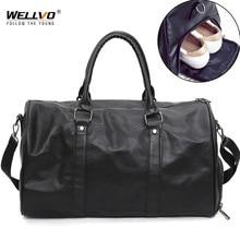 Мужская черная кожаная дорожная сумка, большая спортивная сумка с круглым носком, Женская Мужская спортивная сумка через плечо, сумки для обуви, сумки с карманами XA96WC