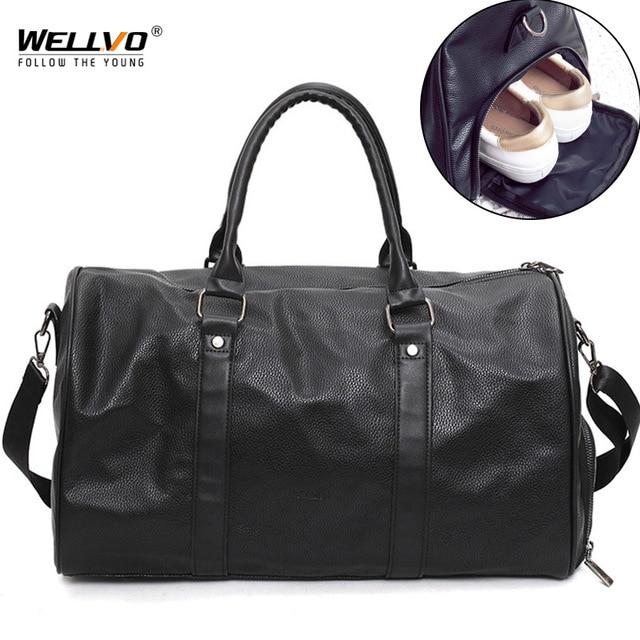 Мужская черная кожаная дорожная сумка большой вещевой круглый Tote Женская Мужская Спортивная через плечо сумки для обуви карманные сумки XA96WC