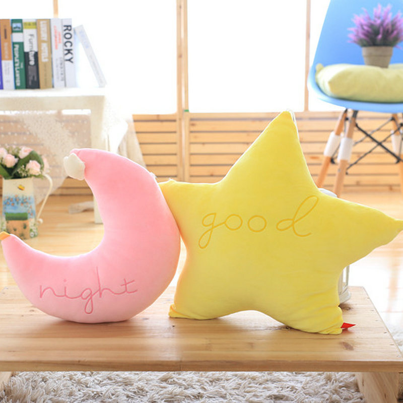 2018 New Style at home decorate soft pillow cushion baby toys kid doll birthday gift Cute Moon plush toys star cloth doll
