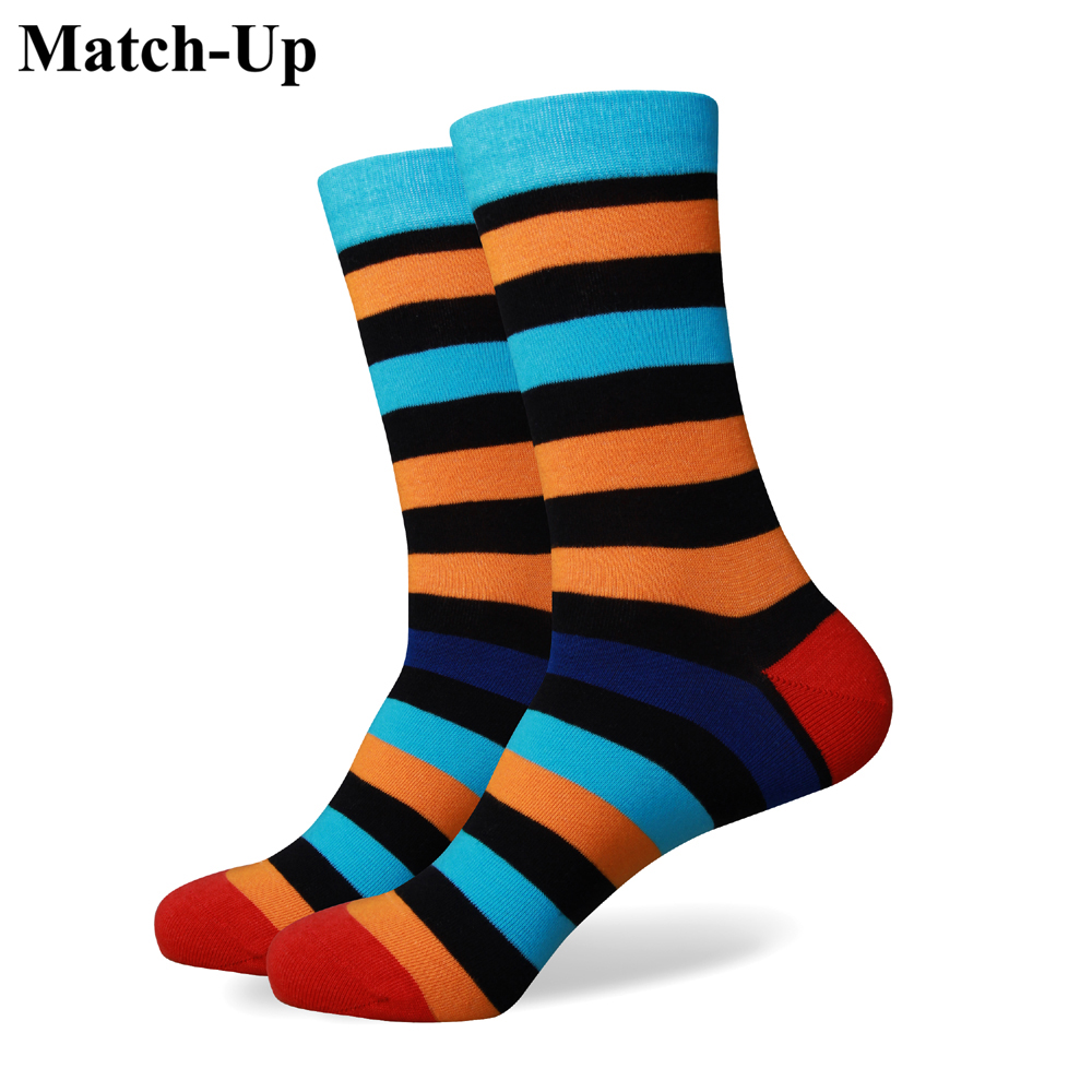 Match Up Free shipping colorful stripe red black yellow new men colorful combed cotton socks 255