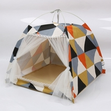 Cotton dog house Four-season pet Four-corner tent Geometric pattern Bracket Easy to clean and carry