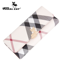 FERAL CAT pvc Leather Women Wallets Luxury Brand 2017 New Design High Quality Fashion Girls Purse Card Holder
