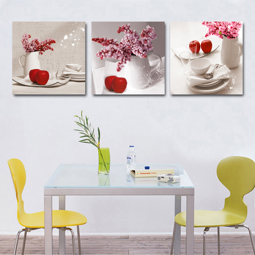 Pink Flower Vase Red Apple Unframed Painting Canvas Modern Art Print Poster  HD Printing Living Room Decoration 3 Pieces/Set In Painting U0026 Calligraphy  From ...
