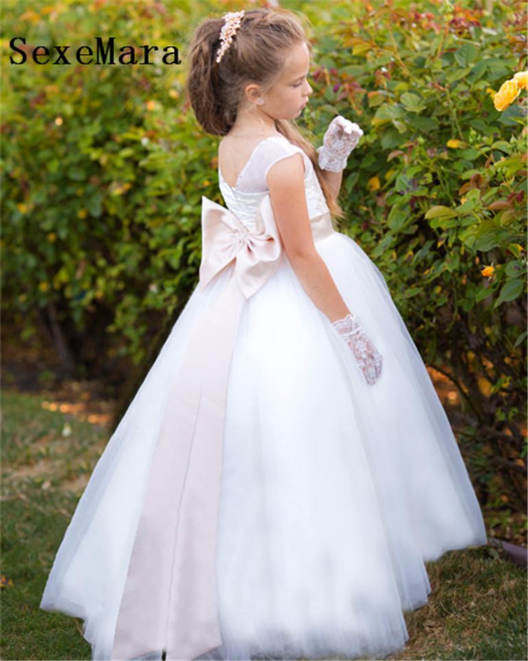 New Champagne Lace White Flower Girl Dress for Wedding Beading Little Princess Ball Gown First Communion Dress Christmas Gown hot sale champagne lace appliques first communion dress ball gown with bow kids evening gown flower girl dress for wedding