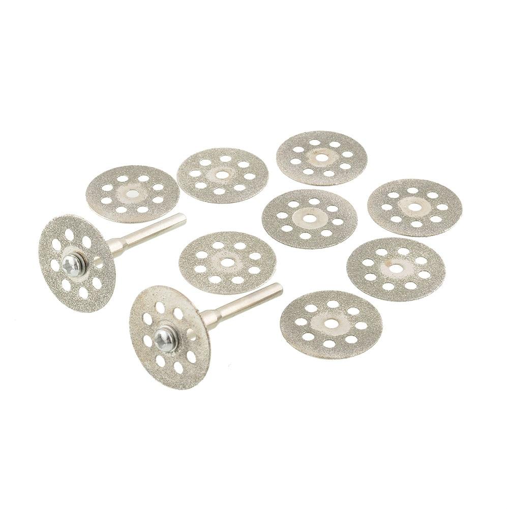 Hot New 10PCS Sharp 22mm Vented Rotary Diamond Glass Gemstones Cutting Discs  Mandrel Dremel DIY