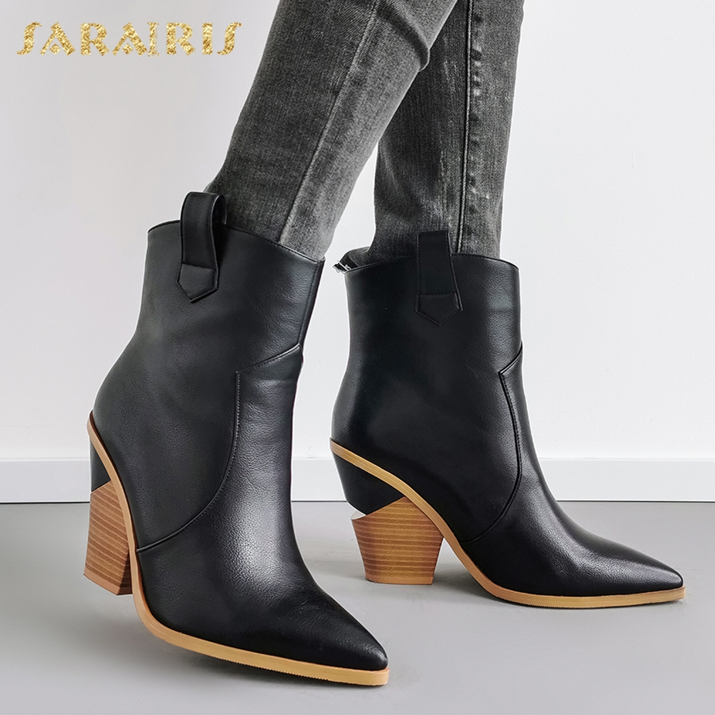 New Plus Size 43 Top Quality Comfortable High Heel mid-calf Boots women's Shoes Black PU Leather Western Boots Shoes Woman