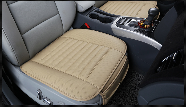 Invigorate The Circulation of Blood and Eliminate Fatigue Absorb Sweat Four Seasons Universal Environmental Breathable PU Leather Bamboo Charcoal Car Interior Seat Cushion Cover Pad Mat