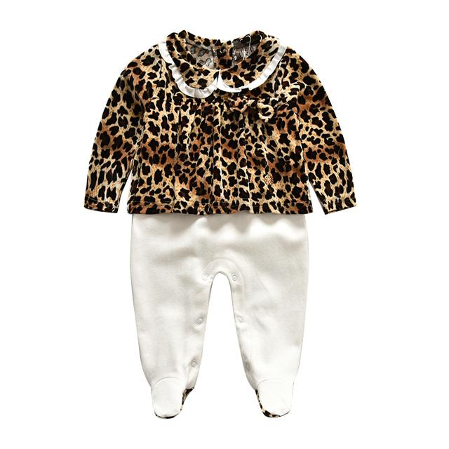 Marca de moda Niña Leopardo 100% Algodón Niñas Infantiles Footies Mono Mono