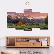 3-4-5 Pieces Barn in Landscape Modern Wall Art Pictures HD Printed Canvas Painting Modular Paints Home Decoration