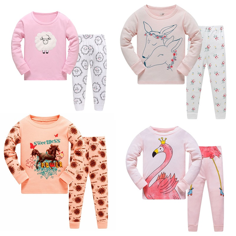 NEW 2019 girlys nightwear girls family christmas   pajamas   cartoon kids   pajama     sets  ,children sleepwear toddler baby pyjamas 3T-8T
