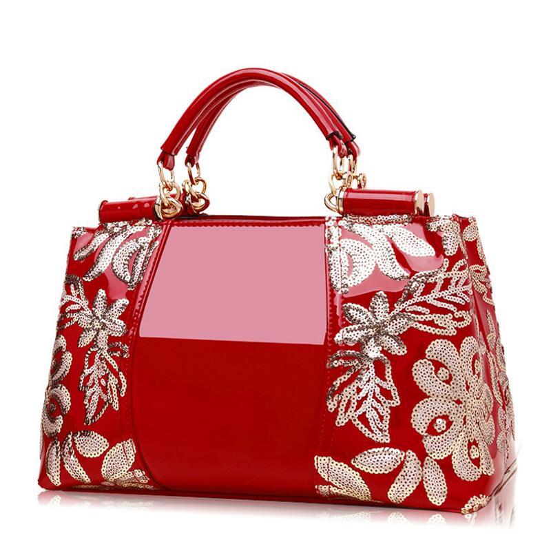 Best selling new fashion patent leather sequins high-end women's bag luxury brand design handbag ladies shoulder Messenger bag(China)