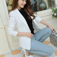 New Arrival Women Blazers And Jackets 2016 Spring Autumn Fashion Single Button Blaser Femenino White Blue