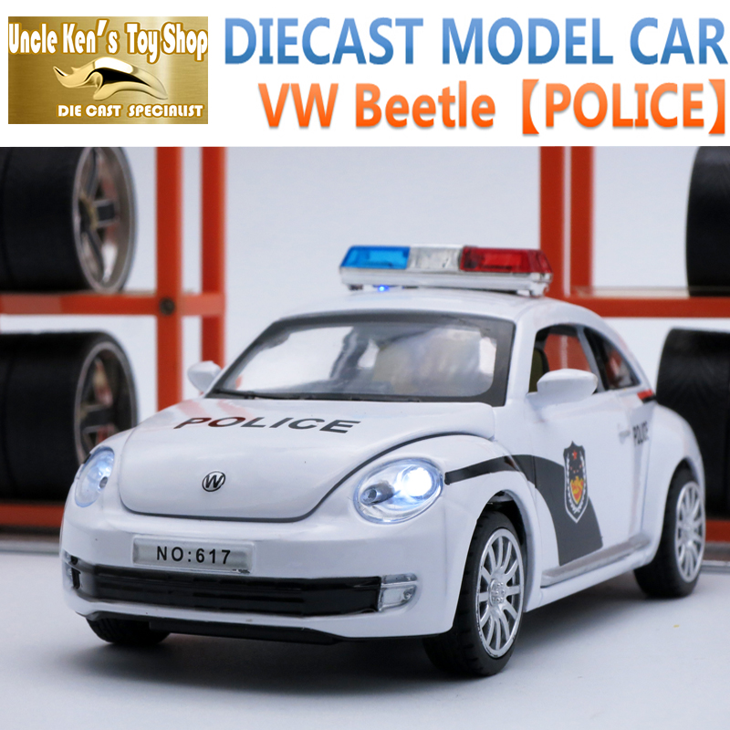 15Cm Length VW Beetle Diecast Car, 1:32 Scale Alloy Model, Metal Police Toys As Kids Gift With Pull Back Function/Light/Sound