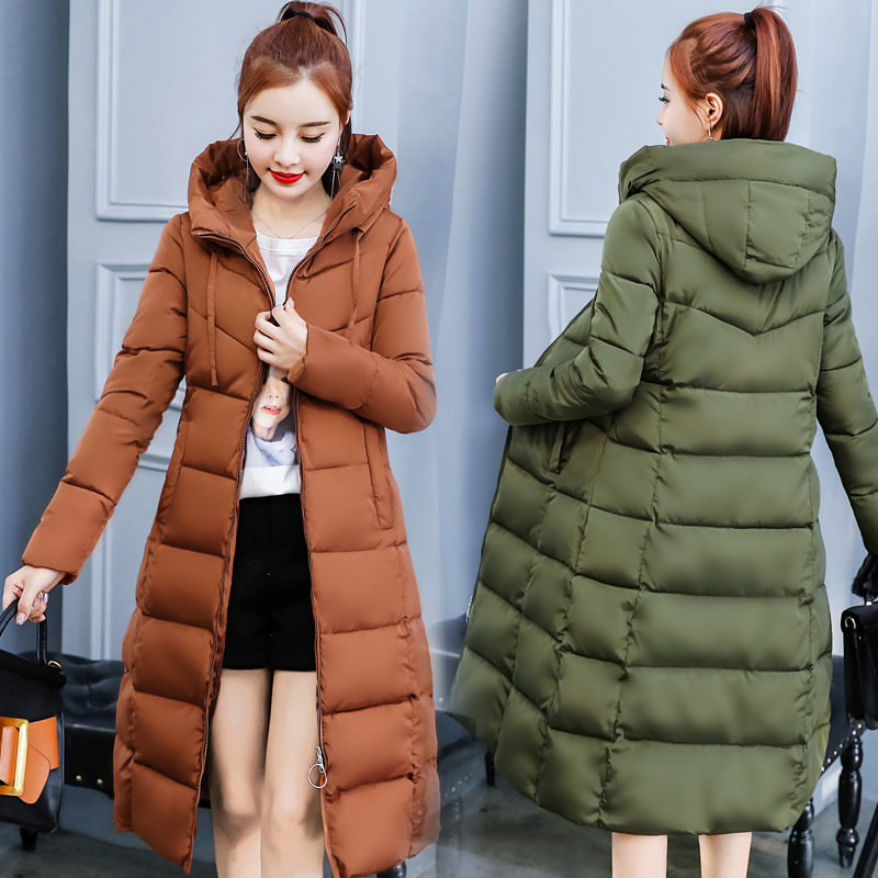 Winter   Parkas   Women Long Jacket Casual Hooded Coats Solid Slim Warm Thick Black Down Cotton Overcoat Jacket Plus Size 4XL