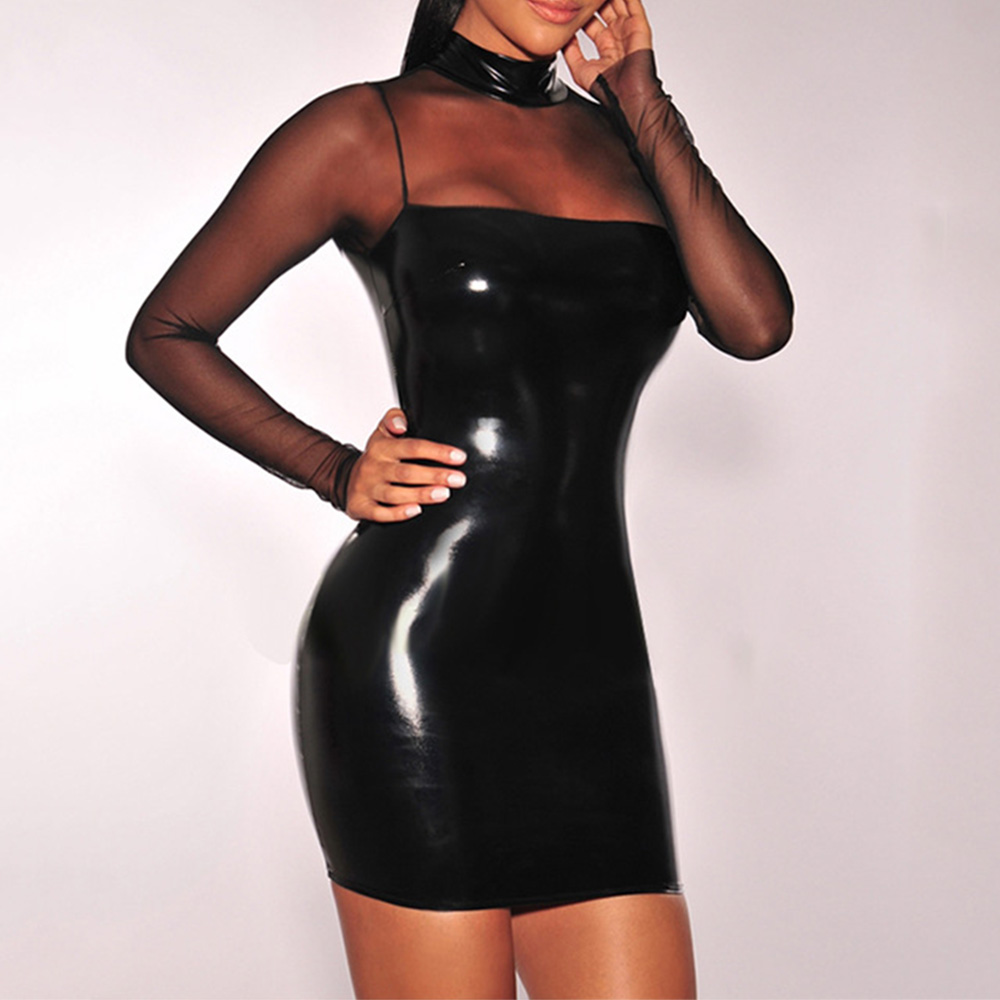 Womens PU Bodycon Leather Evening Party   Cocktail   Club Short Mini   Dress   Sexy HOT