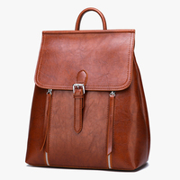 Simple Design Students School Backpack Girl Leather Flight Portable Big Volume Double Bags
