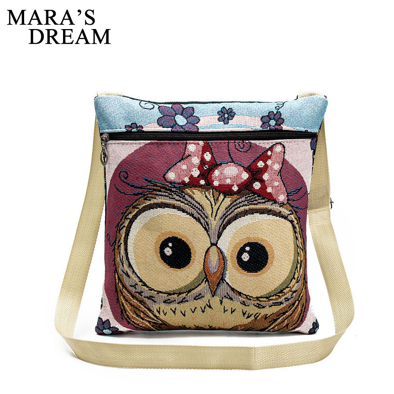 Mara's Dream Zipper Female Small Flap Shoulder Handbags Cartoon Owl Printed Canvas Bags Women Small Shoulder Messenger Bags
