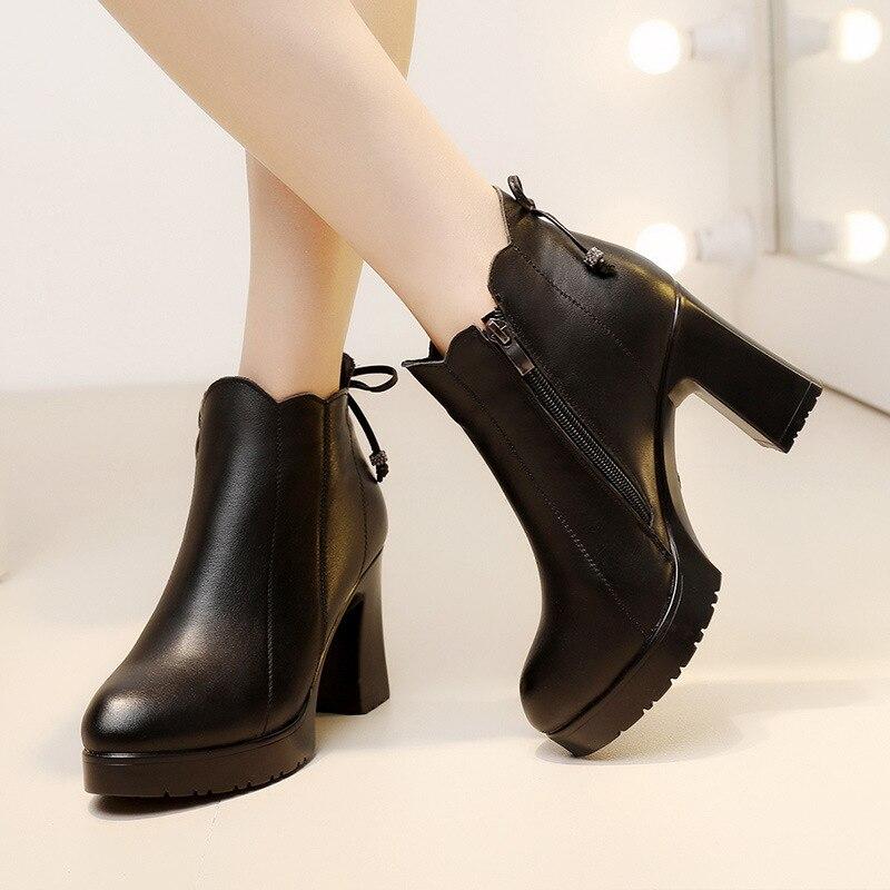 Chaussures 43 Bottes Femmes Automne black1 Taille Chaudes Peluche Compensées À Grande Semelles Split forme Hauts Black2 Cuir 33 Talons En Hiver Bottines 2019 Plate vmOyN8wn0