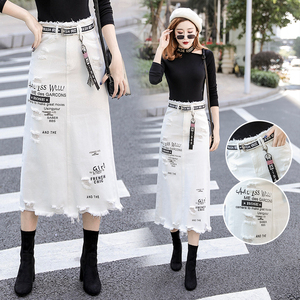 Image 3 - Women Front Hole Denim Skirt 2020 New Fashion Spring Summer Long Skirts High Waist Casual White Jeans Skirt Plus Size 5XL