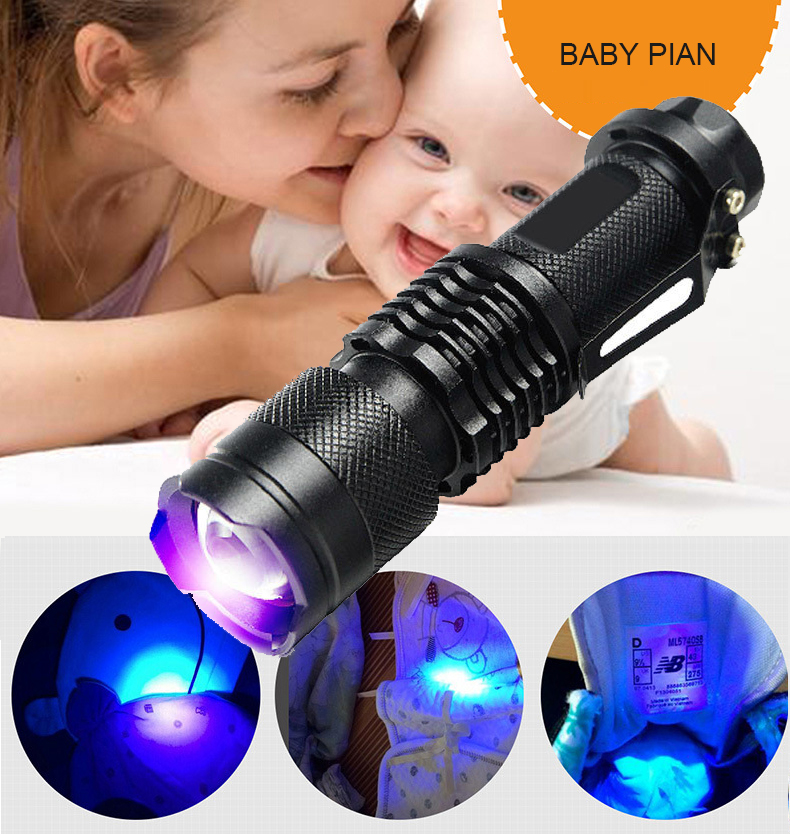 <font><b>365nm</b></font>/<font><b>395nm</b></font> <font><b>UV</b></font> <font><b>Flashlight</b></font> Ultra Violet Light Zoomable <font><b>UV</b></font> light Torch Lamp For Marker Checker Detection Use AA/14500 battery image