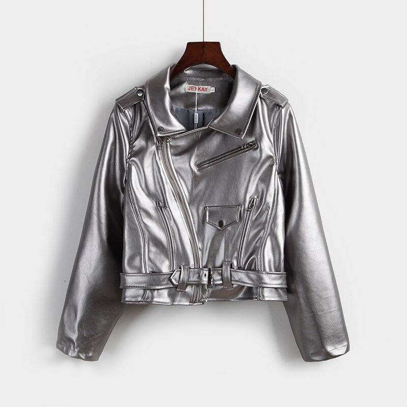 Осень Для женщин с панк короткие PU локомотив кожаная одежда серебра пальто Искусственная кожа замшевая куртка Мотоцикл Байкер Куртки верхн...