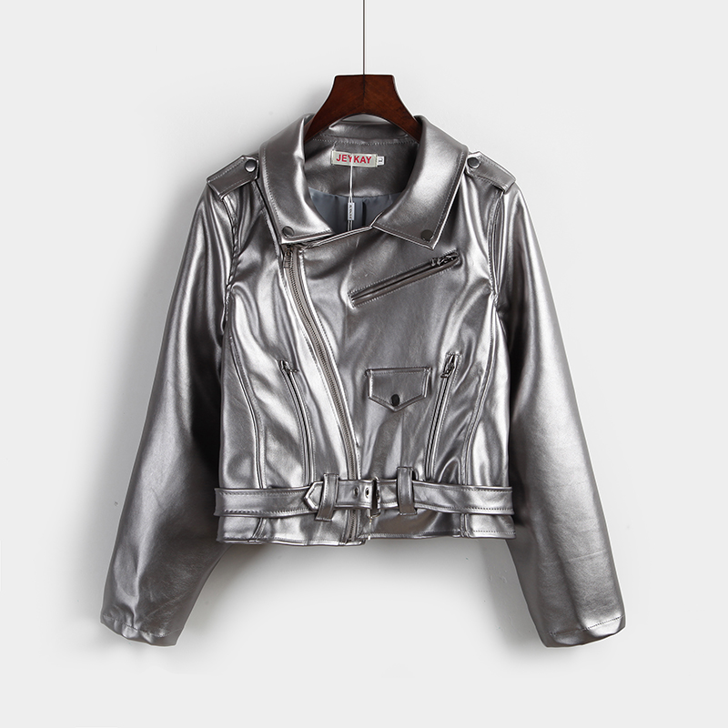 Autumn Women s Punk Short Pu locomotive Leather clothing Silver Coat Faux Leather Suede Jacket Motorcycle Biker Jackets Outwears