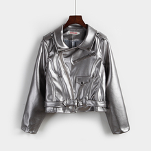 Autumn Women s Punk Short Pu locomotive Leather clothing Silver Coat Faux Leather Suede Jac