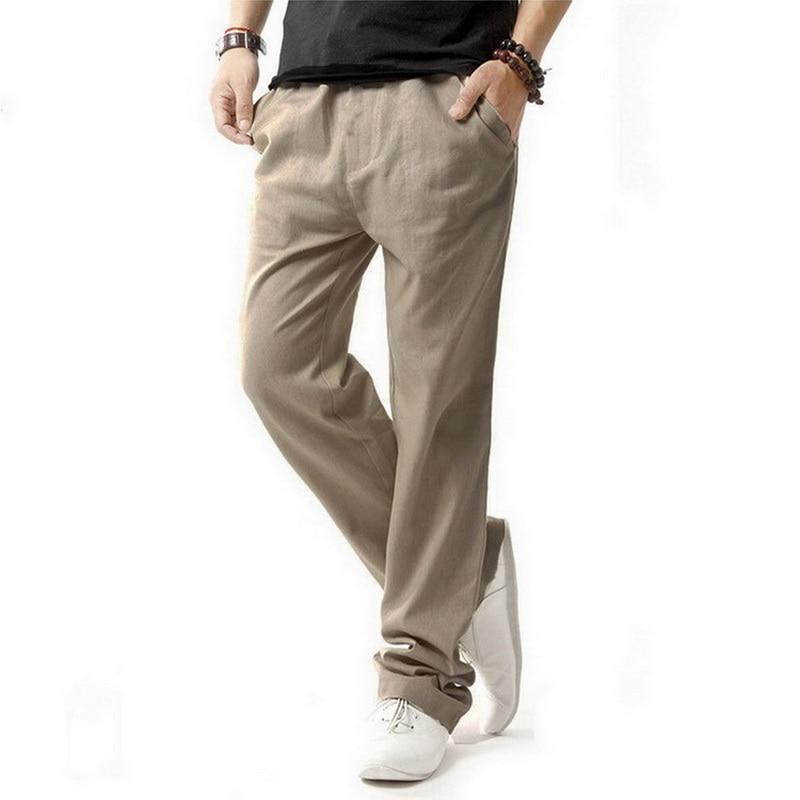 5XL antimicrobianos pantalones de lino saludables hombres 2017 verano transpirable delgado pantalones de lino hombres varones de algodón de cáñamo pantalones casual, BM001