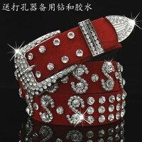 New Red belt female wide pu diamond inlaid ms han edition decorative belt female fashion joker cowboy belts