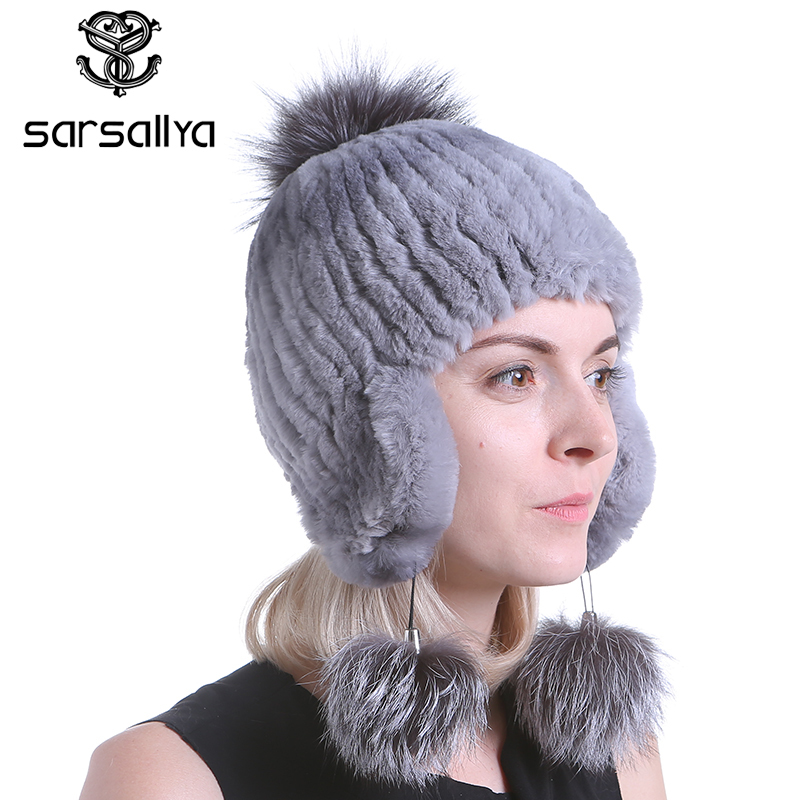 SARSALLYA Winter fur hat for women real rex rabbit fur hat with fox fur pom poms
