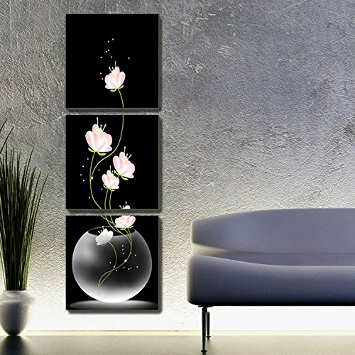 btf 3PCS Canvas Modern Wall Painting Purple Pink Blue Flower Home Decoration Art Picture Paint on Canvas Prints in Painting Calligraphy from Home Garden