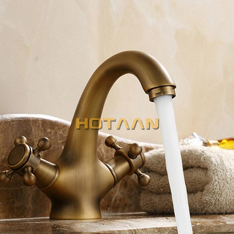 HTB1yew7hgoQMeJjy1Xaq6ASsFXaq HOTAAN Solid Brass Bronze Double Handle Control Antique Faucet Kitchen Bathroom Basin Mixer tap Robinet Antique YT-5021
