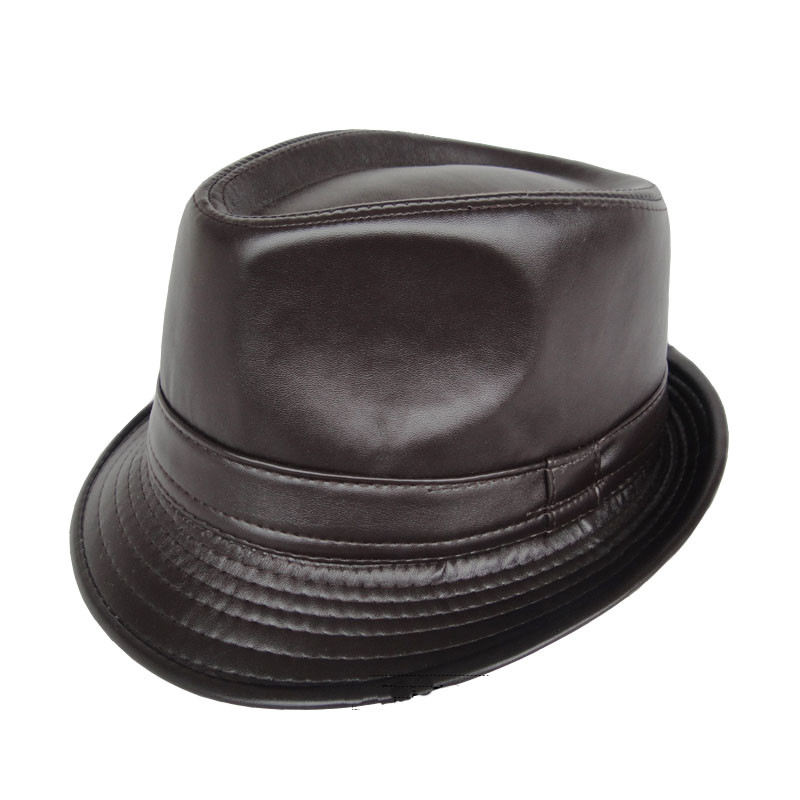 365238ee0bc Winter Pu Leather Cap Black Fedora Hats For Men Curl Brim Panama Tea Party Hats  Vintage Jazz Hat ...
